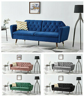 £259.99 • Buy Sofa Bed 3 Seater Velvet Fabric Padded Suite Luxury Recliner Sofabed Click Clac