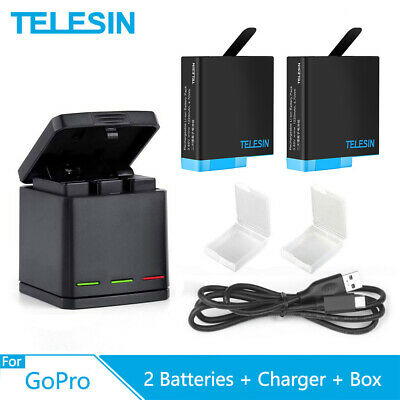AU40.76 • Buy TELESIN 2 Pack Battery 3 Slots Charger Box Storage For GoPro Hero 5 6 7 8 Black