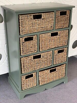 Sage Green Wicker Rattan Chest Of Drawers Furniture Bathroom Storage Unit • 134.99£