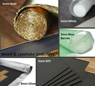 Wood/Laminate Underlay- 3mm-5mm - Acoustic White - Gold - Silver - Blue - XPS  • 2.99£