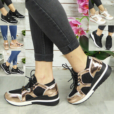 Ladies Wedge Trainers Womens Sneakers Lace Up Comfy Classic Bling Pumps Shoes • 17.95£