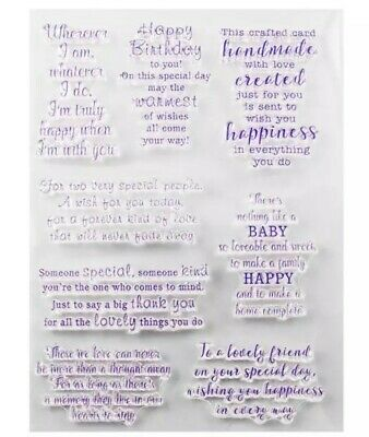 8 Sentiments/sayings Clear Stamps-occasions-baby/birthday/love/thank You/memory • 5.50£