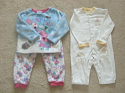 Girls Peppa Pig Pyjamas And M&S All In One Suit  2 - 2 1/2 Yrs • 4.50£