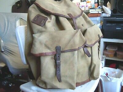 Vintage SWISS ARMY Military Leather Trim Salt & Pepper RUCKSACK/BACKPACK  2 • 106.62£