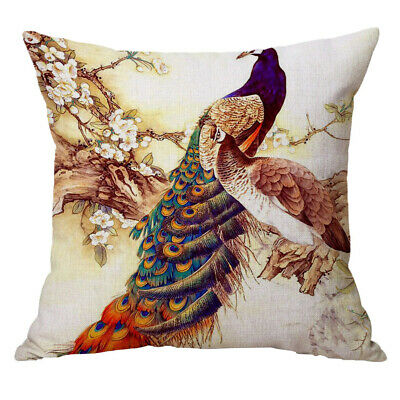 Pillow Case Cushion Cover Sofa For Home Decor Two Peacocks 60x60cm • 7.17£