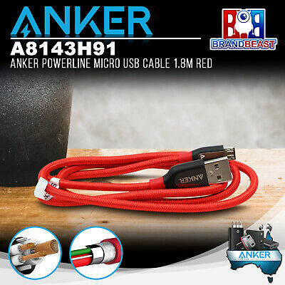 AU24.95 • Buy Anker A8143H91 PowerLine+ Micro 1.8m Android Smartphones USB Cable W/ Pouch Red