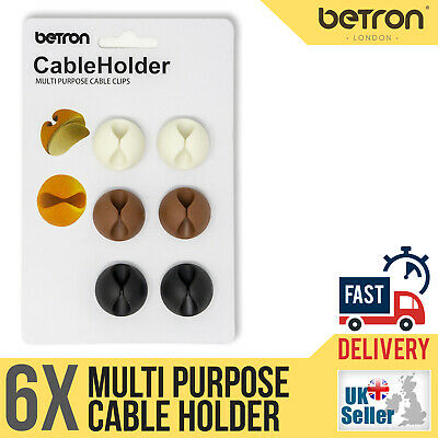 6 X Cable Clips, Ties, Charger Wire Holder Tidy Management, Lead Desk Organiser • 2.99£