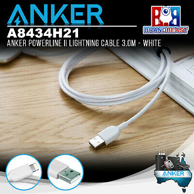AU36.95 • Buy Anker A8434H21 PowerLine II 3m IPhone Lightning Cable - White