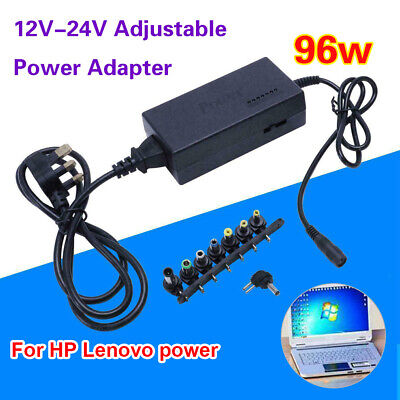 12-24V Universal AC/DC Power Adapter 96W Laptop Adjustable Charger 8 Connector • 9.69£