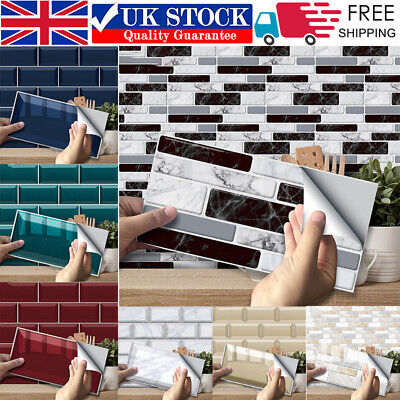 DIY Self-adhesive Brick Tiles Wall Stickers Kitchen Bathroom Wall Art Home Decor • 6.89£