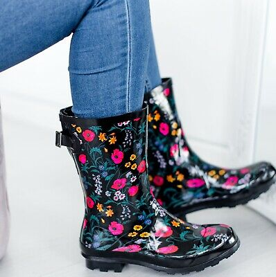 Womens Wellies Garden Flower Rain Festival Ladies Wellington Waterproof Boots • 10.95£