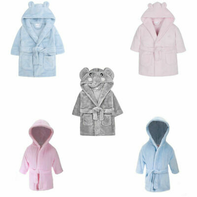 £11.95 • Buy Baby Boys Girls Dressing Gown Hooded Bath Robe Pink Blue Grey Shower 0-24 Months