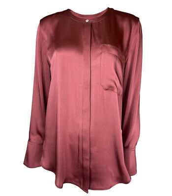 Marks And Spencer / M & S Autograph - Deep Rose Satin Blouse / Shirt **new** • 12.99£