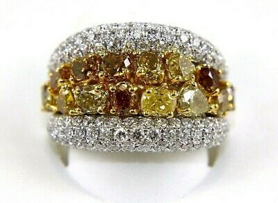 Natural Canary Yellow Diamond Cluster Wide Ring Band 14k White Gold 4.38Ct • 5,311.54£