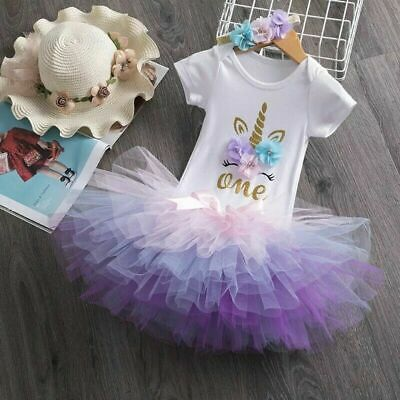 AU29.95 • Buy Bubblegum Unicorn Baby Girl 1st Birthday Party Outfit Dress Tutu One Cake Smash