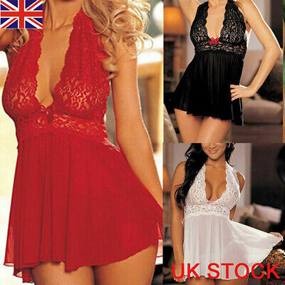 UK Sexy Ladies Lingerie Sleepwear Women Babydoll Robe Underwear Night Dress • 6.69£