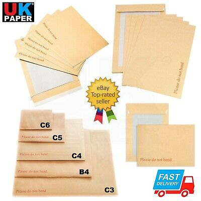 £4.19 • Buy Hard Board Backed Brown Envelopes Please Do Not Bend A6 C6 A5 A4 A3 C4 Peel Seal