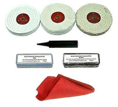 Angle Grinder / Car Polisher - Aluminium Polishing, Buffing Kit - 4  X 1/2  Mops • 21.50£