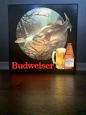 $ CDN433.69 • Buy Rare! Vtg Budweiser Beer Fish In Motion Outdoors Fishing Bar Light Pub Sign