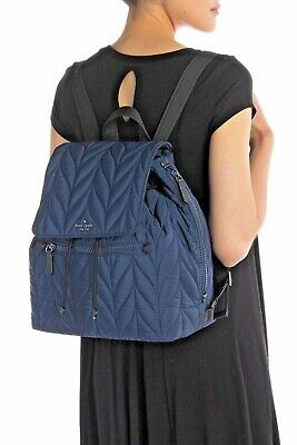 $ CDN316.37 • Buy Kate Spade Large Flap Backpack Ellie Nightcap Quilted Nylon Blue $299 New Tags