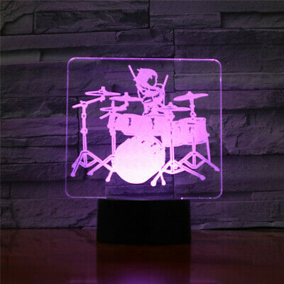 Drum Musical Instrument 3D LED Night Light Touch Xmas Desk Lamp Gift Toy • 14.99£