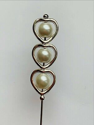£6.50 • Buy Beautiful White Pearl Silver Style 5  Long Hat Pin & Pin Protector