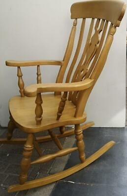 Beech Rocking Chair Spindle High Back, Windsor Style, Lovely Nursery Chair • 95£