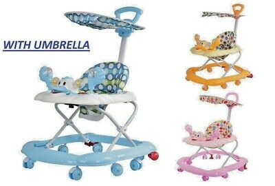 Baby Walker First Step Push Along Bouncer Rocking Horse Toy Ride With Umbrella • 26.99£