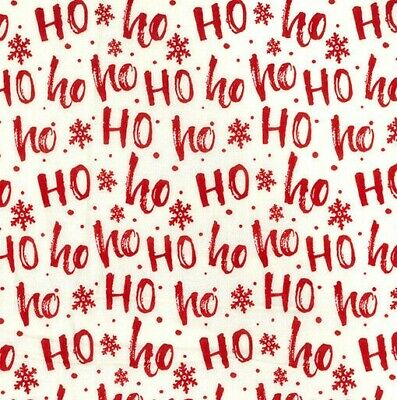 Christmas Fabric 100% Cotton Material Ho Ho Ho Metre Off The Roll Material Craft • 3.45£