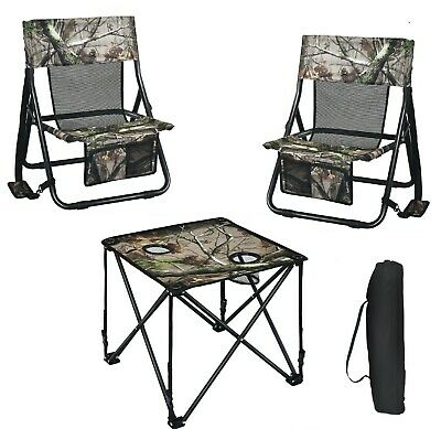 Camping Table And Chairs Hunting Portable Folding Set Carry Bag Outdoor Picnic • 111.53£