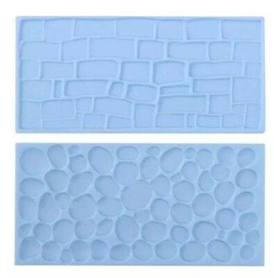 2x COBBLE STONE WALL MOULD-ICING IMPRESSION MAT-CHOCOLATE MOLD-CAKE/CASTLE COBLE • 5.35£
