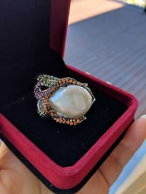 AU399 • Buy S925 Natural White Mabe Pearl Ring In Lily Shape With Tsavorite And Sapphire