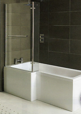 Whirlpool Shower Bath  L Shaped Left Hand 'MATRIX' 1700mm With 10 Jets  • 597£