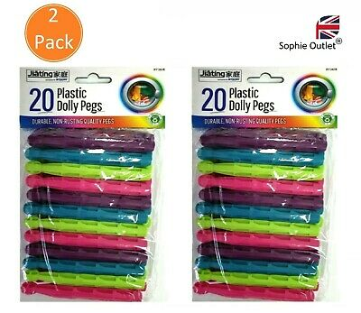 40Pcs Dolly Pegs Strong Colour Plastic Pegs Clothes Laundry Washing Line RY2618 • 3.75£
