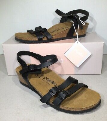 Papillio By Birkenstock Lana Women's Sz 8/EU38N Black Wedge Sandals KB-1328 • 34.51£