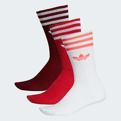 AU29.99 • Buy Adidas Solid  Crew Socks 3 Pairs In Burgandy Scarlet And White Size 6-8.5