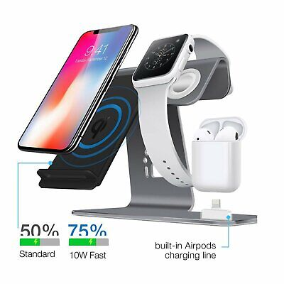 AU44.62 • Buy 3in1 Qi Wireless Charging Dock Charger For Airpods Apple Watch IPhone X 8/8 Plus