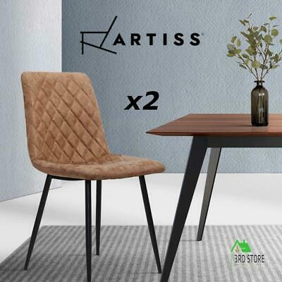 AU126 • Buy Artiss Dining Chairs Replica Kitchen Chair PU Leather Padded Retro Iron Legs X2