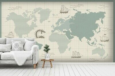 3D World Nautical Map Self-adhesive Removable Wallpaper Murals Wall 511 • 32.86£