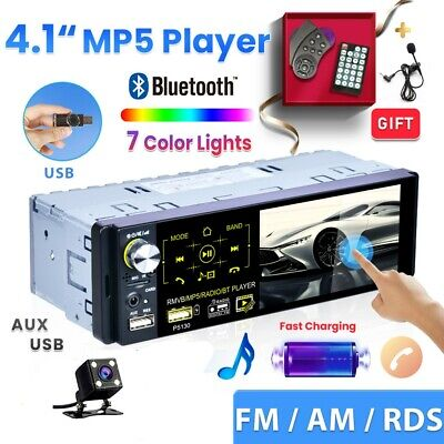 4.1'' 1Din Car Radio Touch Screen Bluetooth RDS/AM/FM Stereo MP5 USB With Camera • 35.99£