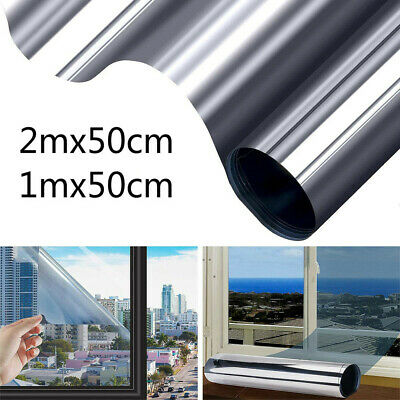 1m/2m Mirror Window Film One Way Reflective Static Cling Privacy Sticker Heat UK • 7.18£