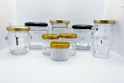 Glass Wedding Jam Honey Marmelade Pickling Jars From 30 Ml To 720 Ml With Lids  • 10.49£