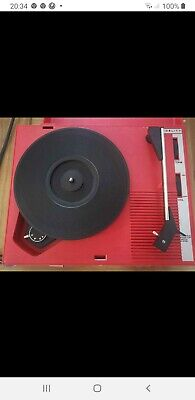 VINTAGE 1970  RED FIDELITY HF42 PORTABLE RECORD PLAYER WITH LID (Batt Or Mains) • 22£