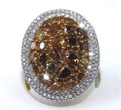 Natural Canary Yellow Diamond Mix Cut Oval Cluster Ring 14k White Gold 4.10Ct • 3,219.11£
