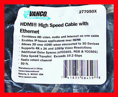 $ CDN31.70 • Buy 50ft - Vanco Hdmi Audio & Video Cable High Speed Cable With Ethernet 277050x
