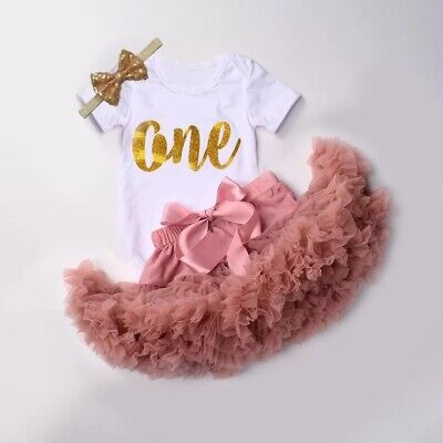 AU45 • Buy First Birthday Premium Baby Girl 3pcs Outfit Tutu Bodysuit Headband Pink One