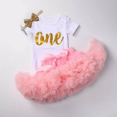AU45 • Buy First Birthday Outfit Baby Girl 3pcs Cute Tutu Bodysuit Headband Pink One