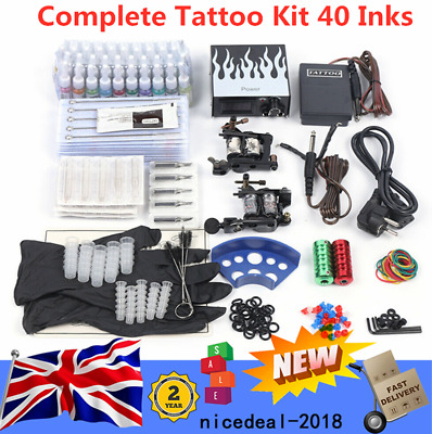 Pro Complete Tattoo Machines Kit Power Supply Starter Set For Beginners • 39£