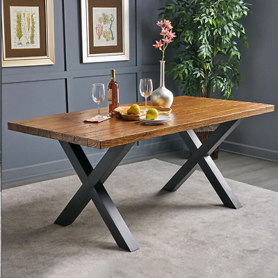 2x Industrial Steel Metal Table Legs X Cross Frame For Dining/Bench/Office/Desk • 59.99£
