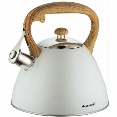 Whistling Kettle 3 L Stainless Steel White Induction  Light Grey Stove Top • 23.99£